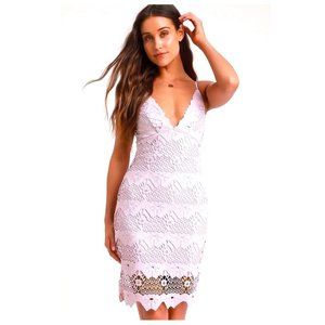 Lulu's Sway Away Lavender Crochet Lace Dress S